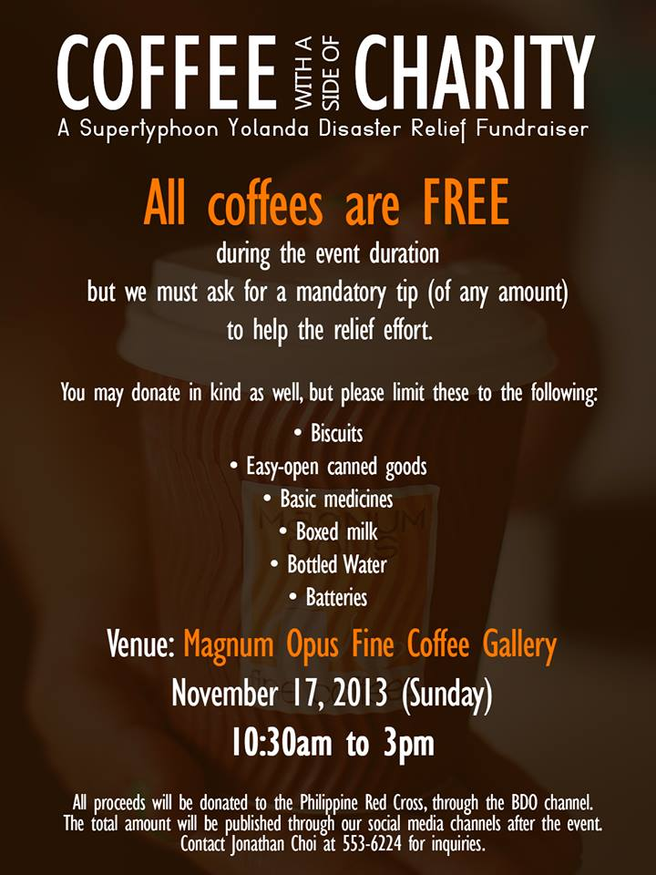 magnum opus coffee for charity